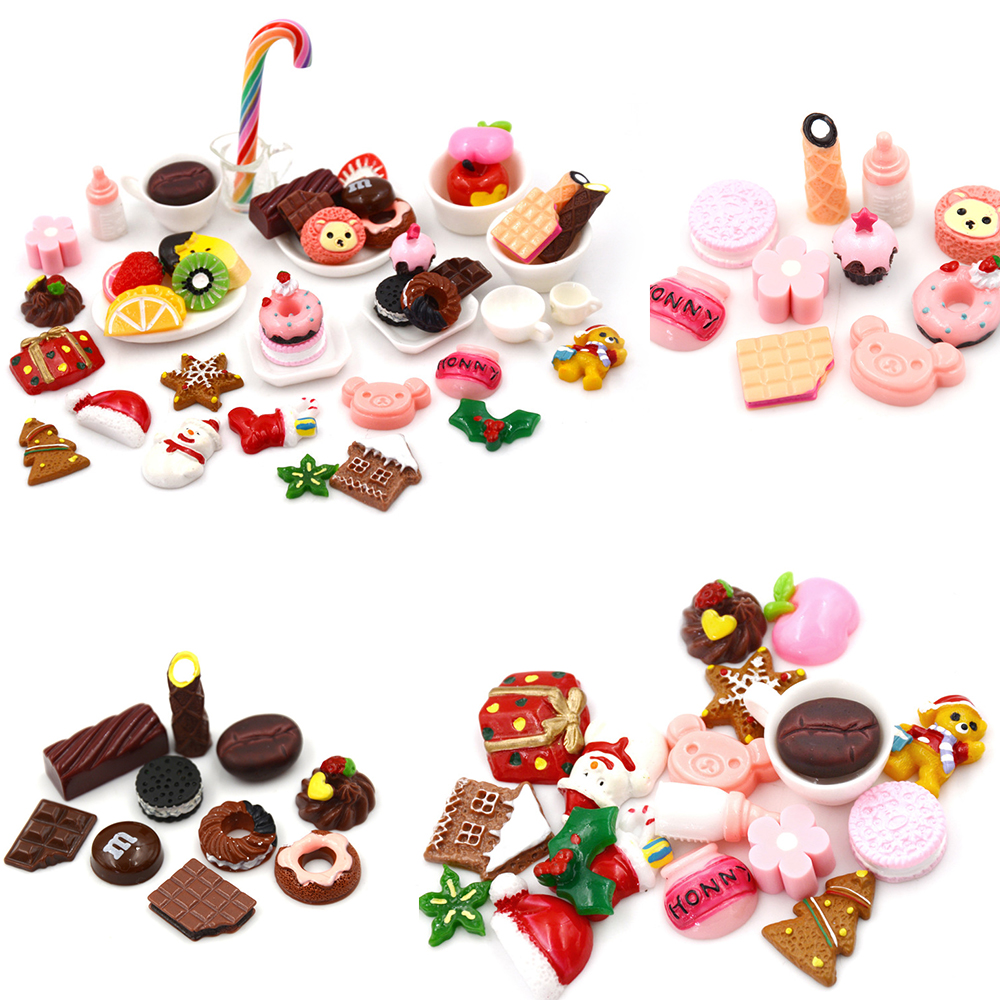10pcs/Lot Resin Christmas Series Cabochon Flatback Decoration Crafts Embellishments For Scrapbooking Diy Accessories Kitchen Toy