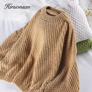 Hirsionsan Basic-Pullovers Lantern-Sleeve Warm-Jumper Solid-Sweater Oversize Loose Christmas-Knitted