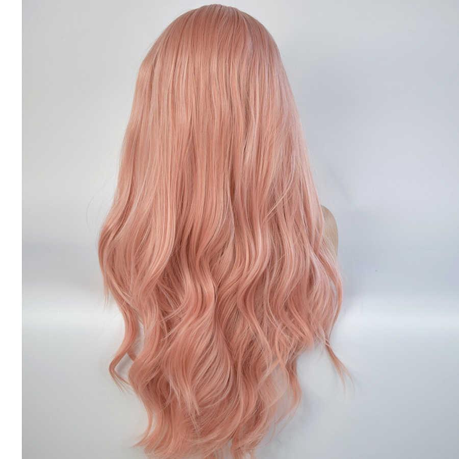 Cor-de-rosa misturado peruca dianteira do laço sintético longo natural ondulado cor-de-rosa perucas para mulheres natural linha fina peruca rosa glueless resistente ao calor
