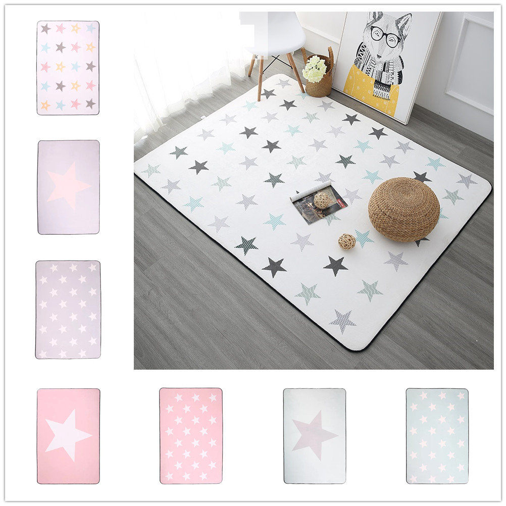 Korean Design Star Printed Carpet Anti-Slip Floor Rug Bath Mat Soft Baby Playing Carpets For Living Room Indoor Bedroom Rug
