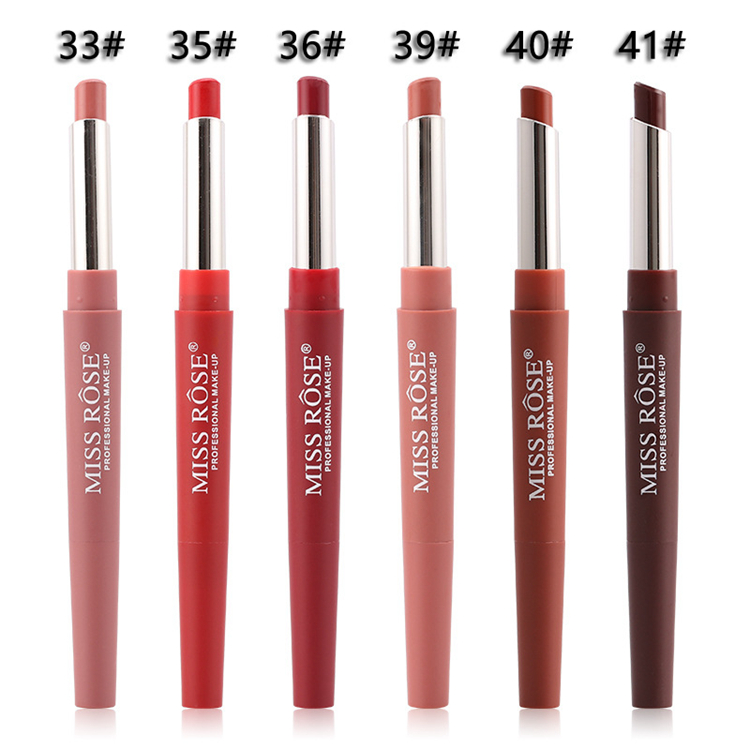 14 Color Double-end Lip Makeup Lipstick Pencil Waterproof Long Lasting Tint Sexy Red Lip Stick Beauty Matte Liner Pen Lipstick (2)