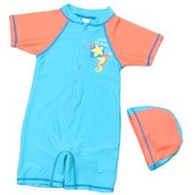 1-12 Y Girls Boys Rash Guards Kids One Piece Swimsuit Children Orange & Blue Surfing Swimwear with Swimming Cap Child Beach Wear