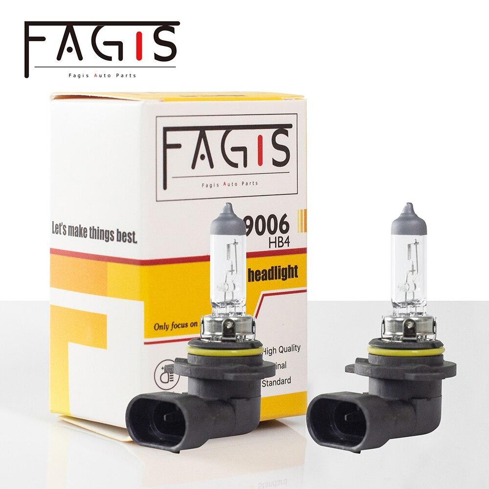 Fagis 2 pçs melhor 9006 hb4 branco halogênio bulbo de alta potência 55w 12v carro nevoeiro drl cabeça da lâmpada luz faróis do carro luzes