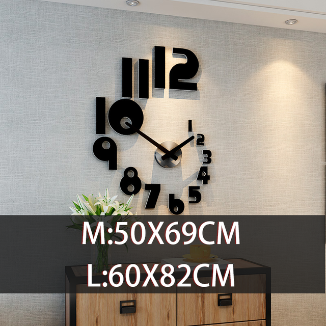 Hot Sale Creative DIY Wall Clock Watch Modern Design watch for Living Room Home Decor Acrylic clock Wall Mirror Stickers Free