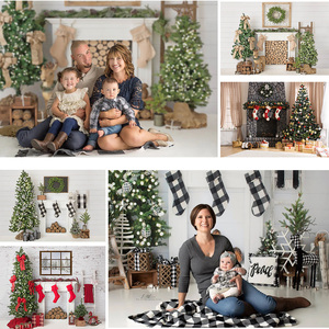 Christmas Photography Backdrop Fireplace Winter Family Party Banner Background Christmas Tree Sock Wreath Photocall Photo Studio