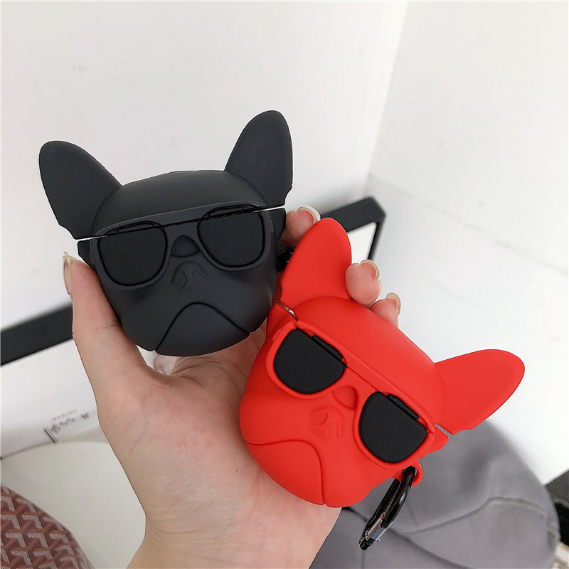 Cute Bulldog AirPods Case Soft Silicone Cover with Ring Buckle for Apple Airpods 2 /& 1 Charging Case