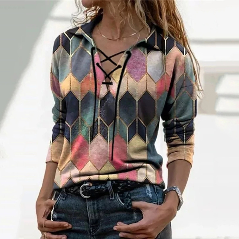 Ladies Spring Tops V-Neck Long Sleeves Lace-Up Women's Clothing Casual Fashion Soft Comfortable Plus Size Patchwork Female Tops