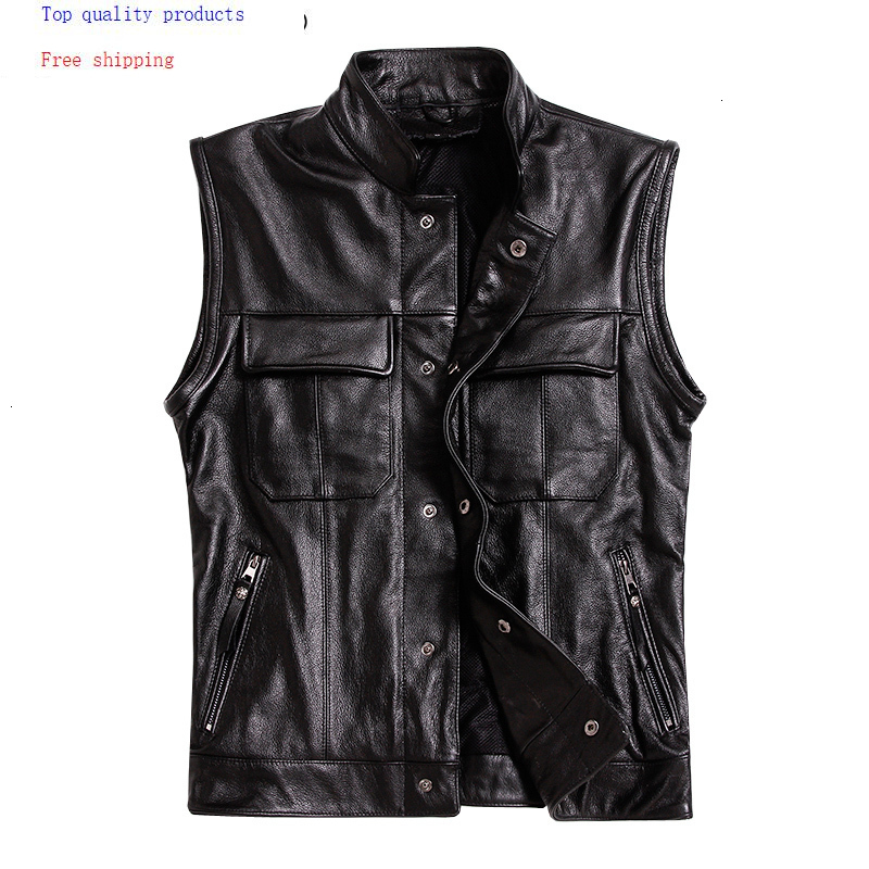 Genuine Leather Vest Men Real Cowhide Coat Motorcycle Jacket Man Vests Male with Many Pockets Leather Jackets L-M-3 2709