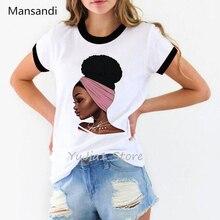 African black girl print vogue t shirt women Melanin Poppin Shirt tumblr clothes tee shirt  femme summer top streetwear t-shirt цены
