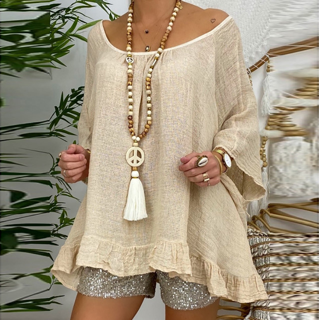 Summer Women Blouse 5xl Plus Size Linen Blouses Three Quarter Sleeve Beach Shirt Office Work Shirts Tops