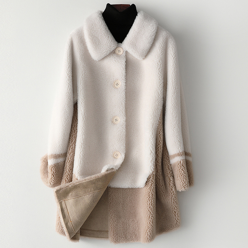 Autumn Fur Sheep Shearing Medium Length Coat New Fashion Long Wool Women's Coat Winter Patchwork Fur Wool Blends Casual Jackets