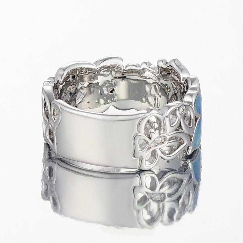 Бохо розовый Бабочка синий цветок Лепесток Форма ажурный Кристалл инкрустированные эффектные серебряные цветные кольца для женщин Свадебные помолвки