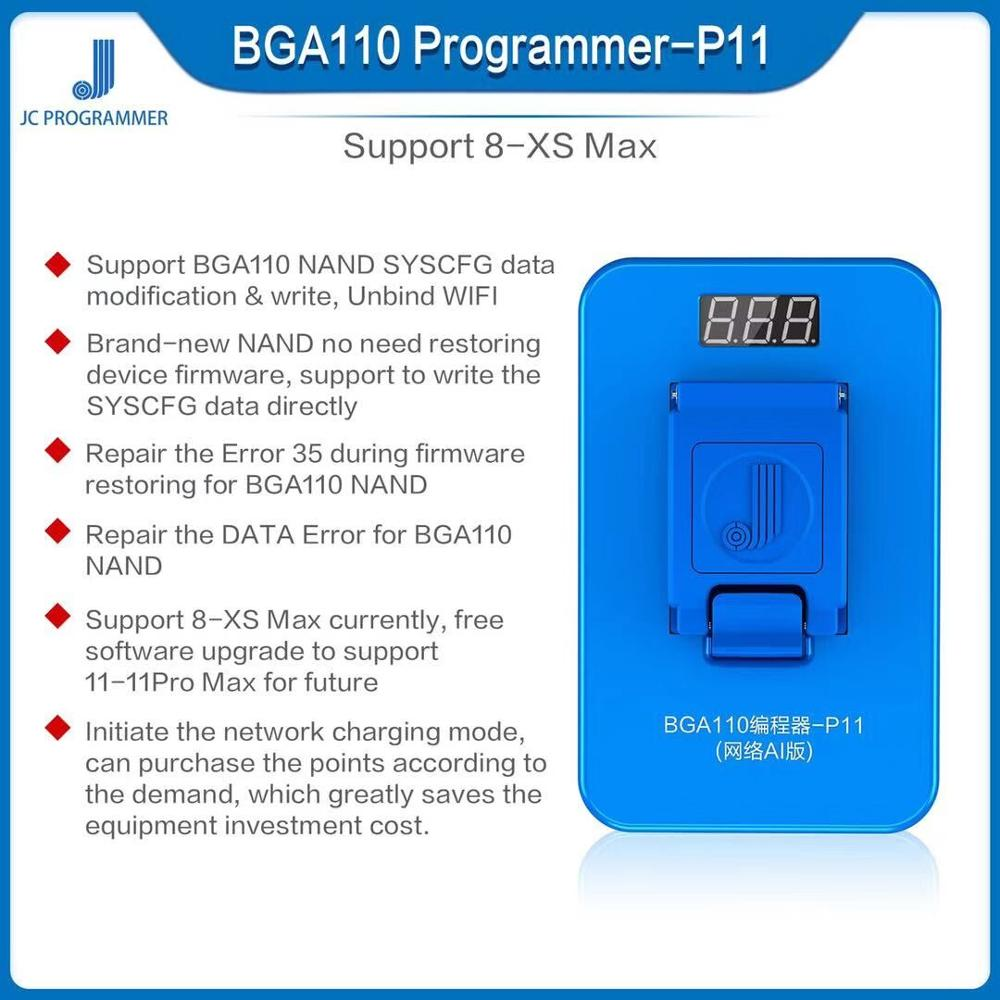 JC P11 BGA110 Programmer For IPhone 8/8P/X/XR/XS/XSMAX NAND Flash For Apple BGA 110 NAND SYSCFG Data Modification Repair