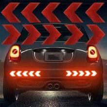 10 pz/set adesivo per auto riflettente freccia segno nastro avvertimento adesivo di sicurezza per auto paraurti tronco riflettore nastro di pericolo Car Styling