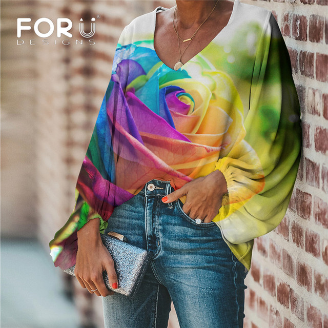 FORUDESIGNS Colorful Flower Rose Printing Ladies Blouse Casual Loose Long Sleeve Women Tops and Blouse Plus Size Shirt Clothing 1
