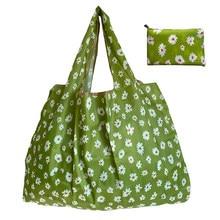 Grandes bolsas reutilizáveis sacos de compras dobráveis sacos de armazenamento sacos de ombro de viagem luz tecido de poliéster