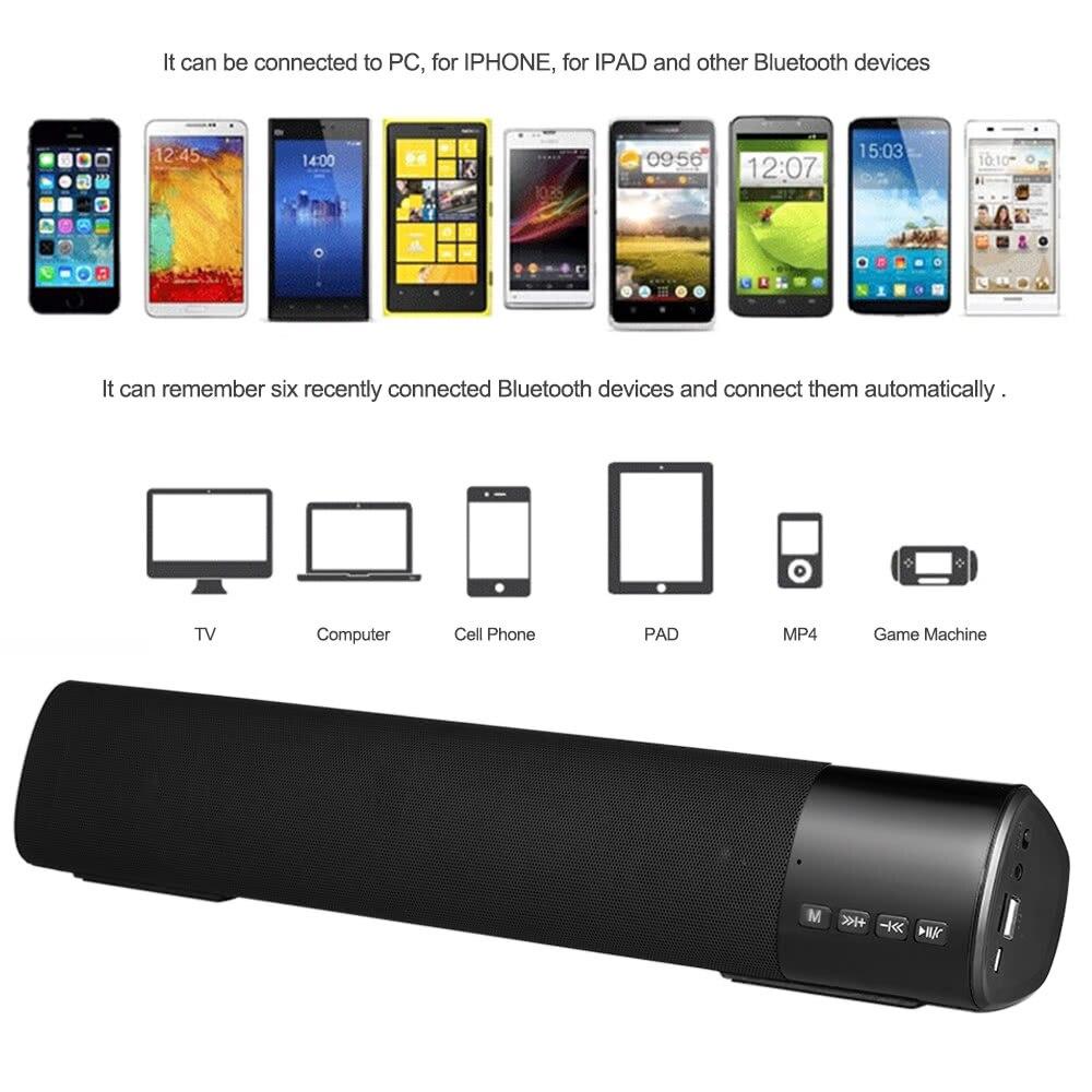 Wireless Bluetooth Speaker Stereo Music Player Soundbar FM Radio TF Card Slot Hands-free LED Display U Disk AUX-IN Black