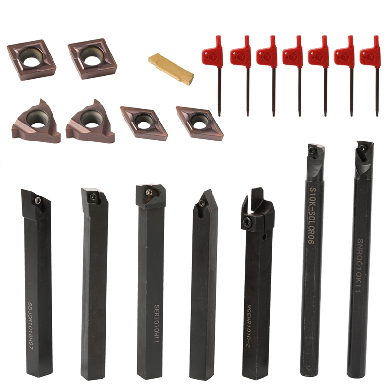 10Mm Lathe Turning Tool Solid Carbide Inserts Holder Boring Bar With Wrenches For Lathe Turning Tools Lathe Cutter