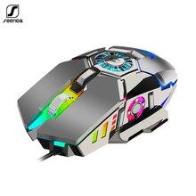 SeenDa ratón profesional para juegos por cable RGB, 7 botones, 6400 DPI, USB, con ventilador de refrigeración