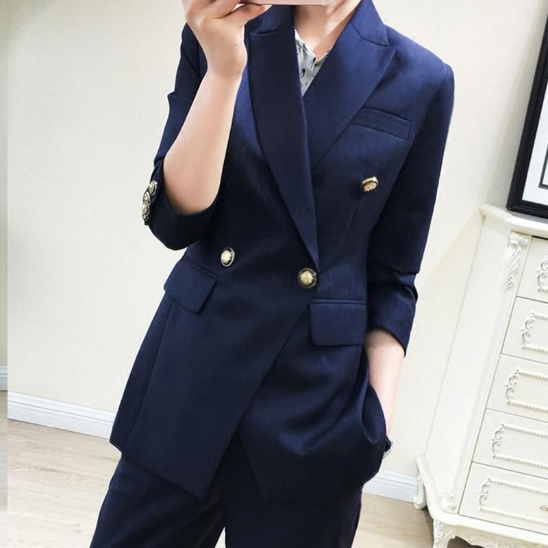 Fashion Business Pant Suits Uniform Formal Jacket and Pant Blazer Set Women Office Lady 2 Two Pieces Suits Uniform