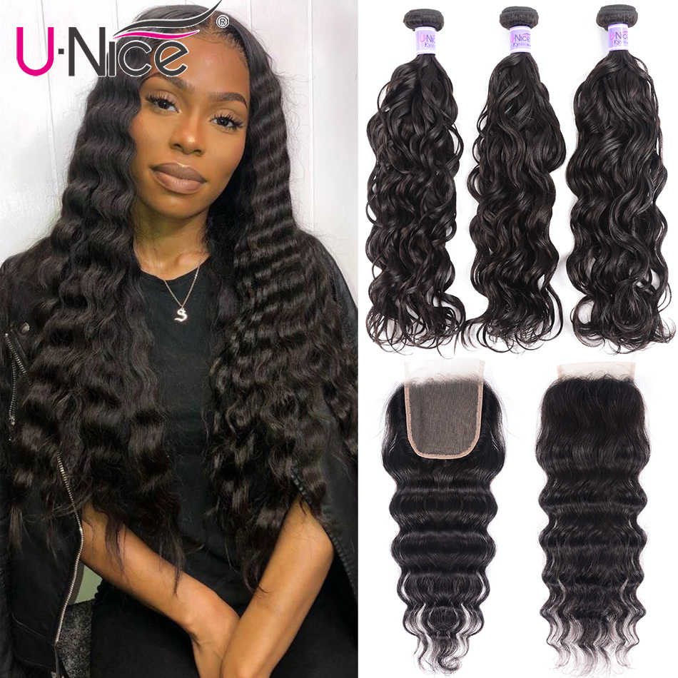 UNice Hair Kysiss Series 8A Natural Wave 3 Bundles with Closure 4*4 Free Part  Brazilian Virgin Human Hair Bundles with Closure