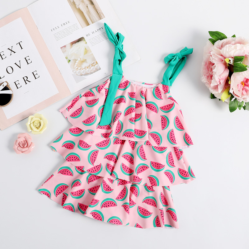 2019 New Style Korean-style KID'S Swimwear GIRL'S One-piece Swimming Suit Multilayer Cake Dress KID'S Swimwear Baby Bathing Suit