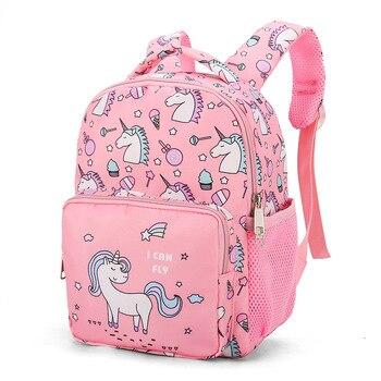 Girl School Bags Child Pink Purple Nylon Printing Backpack Kindergarten Student Cute Girls Children's Schoolbag Waterproof Kids - discount item  50% OFF School Bags