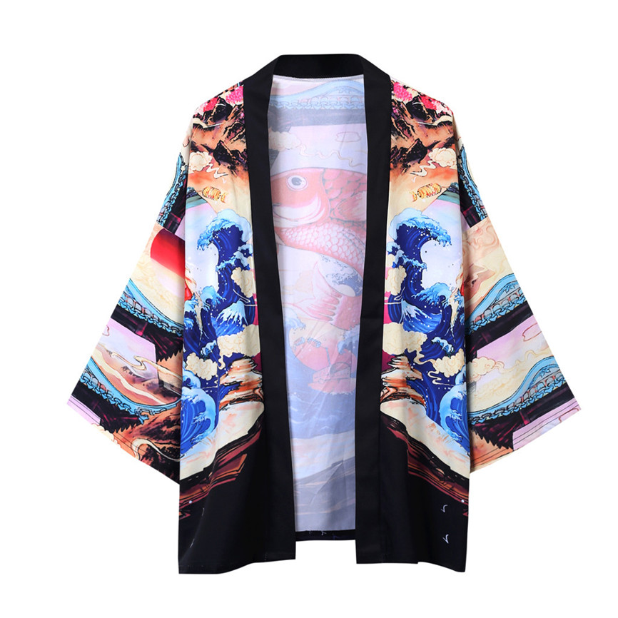 H3f65f0c9faa54910938983dcf5956372I Men's Windbreaker Coat Autumn Long Sleeve Lovers Fashion Retro Robe Loose National Print Creative Top Outwear Plus Size M-2XL A3