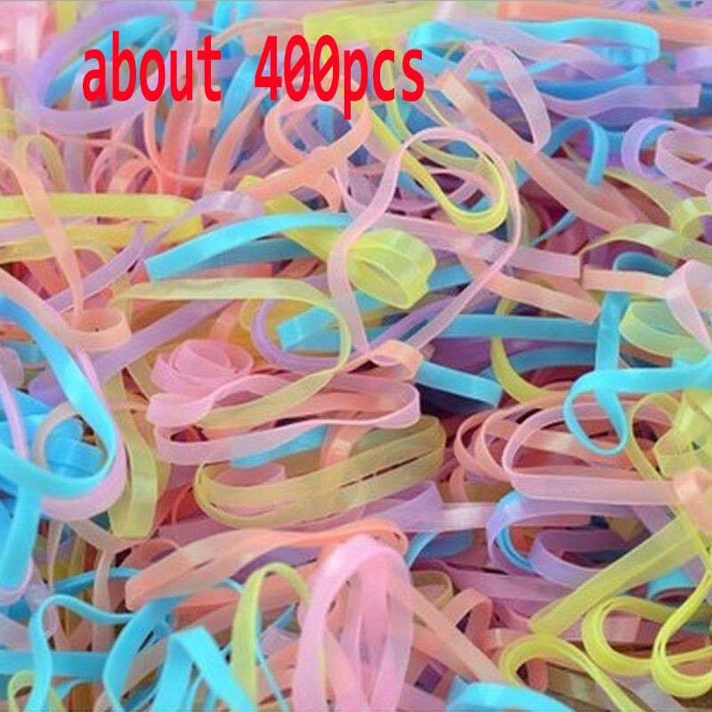 400 ชิ้น/ล็อตยางเชือกผมหางม้าแถบยาง Braids สำนักงานยางแหวนยางอุปกรณ์สำนักงานโรงเรียน