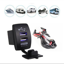 где купить 12-24V Dual USB Car Charger Rocker Switch 5V 3.1A Universal Auto Mobile Phone Charger For Car Motorcycle Electric Car Boat дешево