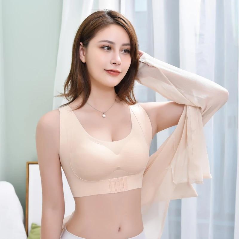 Womens Wireless Gathered Brassiere Seamless Lingerie Push Up Bra Underwear US