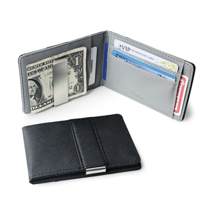 Hot Sale Fashion Solid Men's Thin Bifold Money Clip Leather Wallet With A Metal Clamp Female ID Credit Card Purse Cash Holder(China)