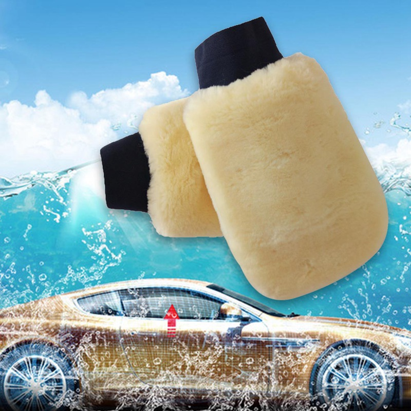 1PC Real Sheepskin Mitt Car Soft Polishing Glove Lambswool Washing Cleaning Polish Car Cleaning Washing