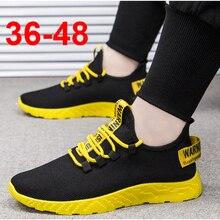 Bomlight Zapatillas deportivas de malla para hombre, zapatos informales con cordones, ligeros, en amarillo, negro y rojo, 2019