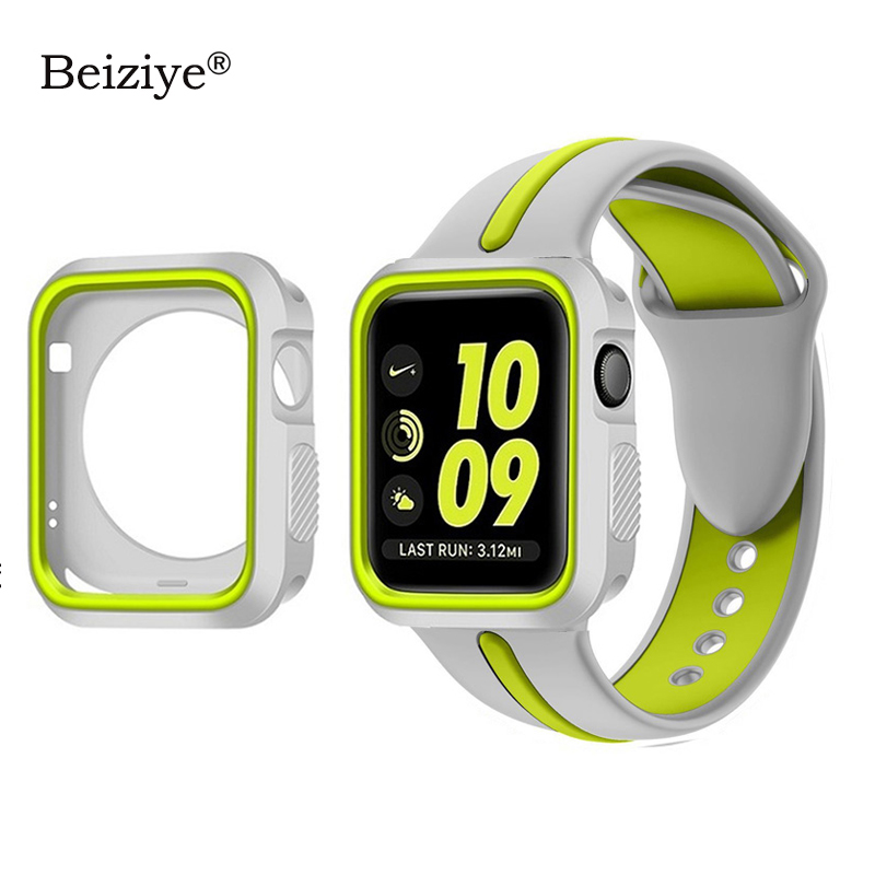 Silicone Sports Strap+Case for Apple Watch Band Series 4 5 <font><b>44mm</b></font> 40mm Bracelet Strap For Apple Watch 42mm 38mm Band Watch Cover image
