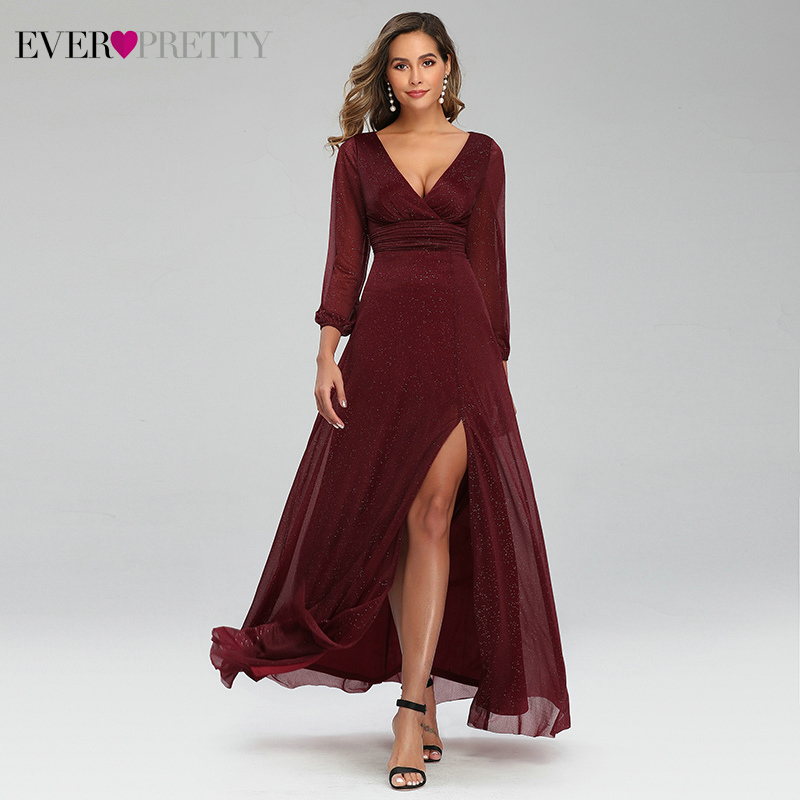 Sexy Side Split Evening Dresses Ever Pretty EP00739BD A-Line Ruhced V-Neck Long Sleeve Sparkle Formal Gowns Sukienki Damskie