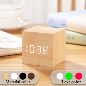 Small Square Digital Wooden LED Alarm Clock Wood Retro Glow Clock Desktop Table Decor Voice Control Snooze Function Desk Tools
