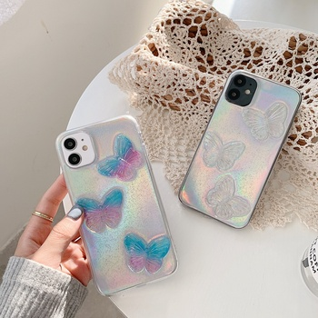 Colorful Laser Butterfly Phone Case For Huawei P40 Pro P30 Mate 30 20 Pro Nova 5 5T 6 6SE 7 Pro Honor 20 20S Clear Glitter Cover image
