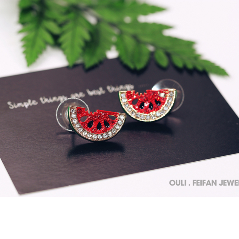 Korean version of rhinestone watermelon earrings cute fashion cute student Japanese and Korean earrings Fashion Stud Earrings