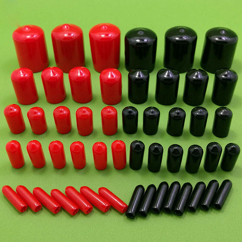 30PCS Black Vinyl Rubber Round End Cap PVC Plastic Cable Wire Waterproof Cover Steel Pole Tube Pipe Thread Protection Caps