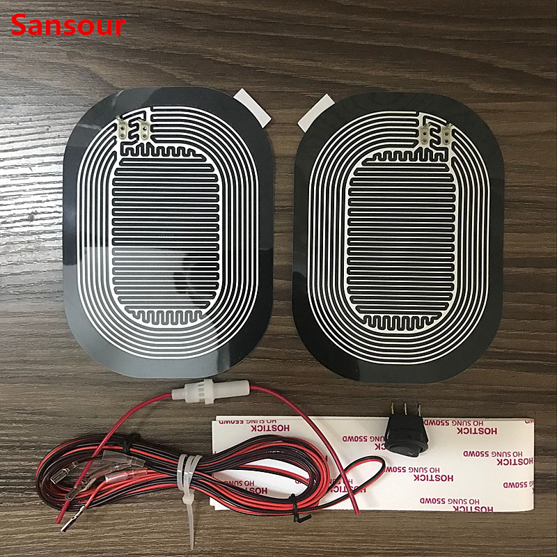 Universal DC 12V Car Electric Mirror Glass Heated Pad Mat Defoggers Remove Frost Side Mirror Glass Heat Heated Pad x 2pcs/Set