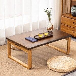 Домашний Складной Столик с низким полом, современный минималистичный кофейный столик с татами, однотонная деревянная мебель, японский чайн...