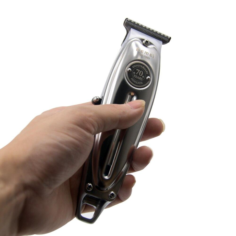 Новая Металлическая профессиональная машинка для стрижки волос от Kemei, мужской беспроводной USB Электрический триммер для волос с Т-образным...