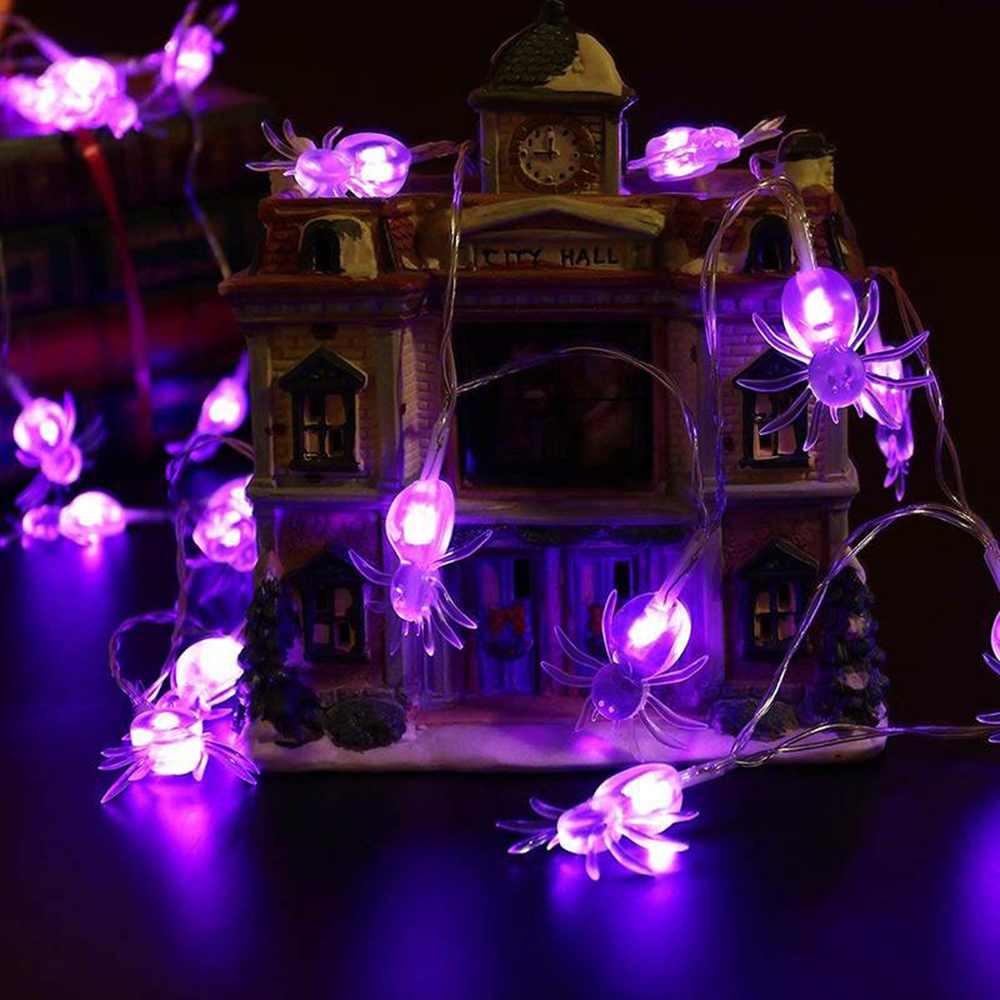 3M 20LEDs Halloween Light String Purple/warm White Spider Lights For Garden Home Party Festival Decoration Holiday String Light