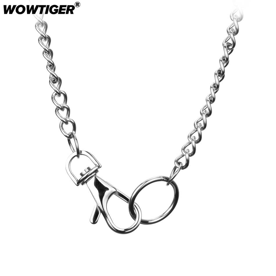 WOWTIGER Silver stainless steel lock choker collares chain punk Men Necklaces Round Pendants Necklace For Women Jewelry Gift
