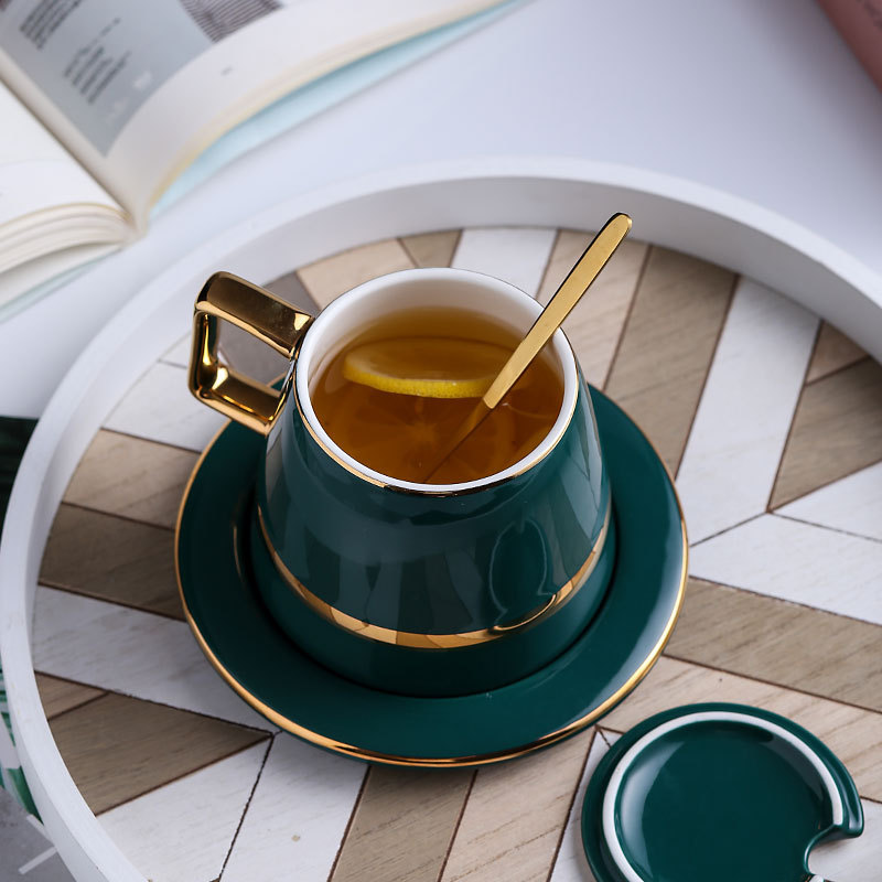 European luxury ceramic <font><b>coffee</b></font> <font><b>cup</b></font> <font><b>set</b></font> with lid spoon gift box <font><b>set</b></font> mug milk tea <font><b>coffee</b></font> green drink 450ml image