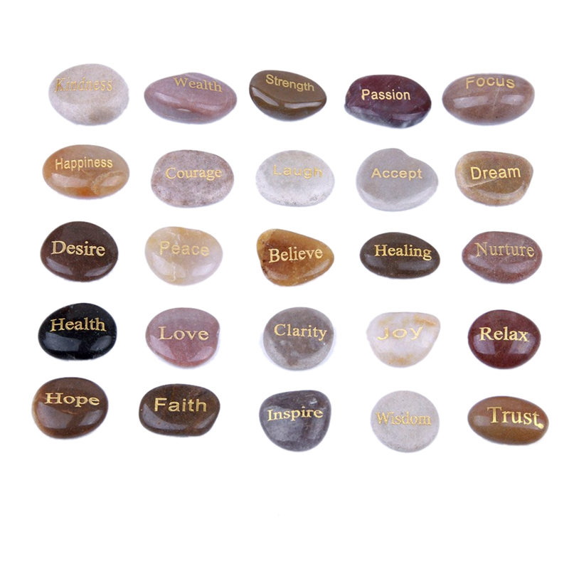 25 Engraved Inspirational Stones with Words of Encouragement Gold Engraved Stones for Worry Affirmation Meditation Stones