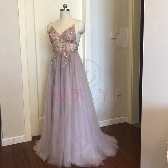 Pink Beaded Prom Dresses Plus Size 2021 Long Elegant See Through A Line Split Tulle V Neck Spaghetti Strap Evening Gown 3