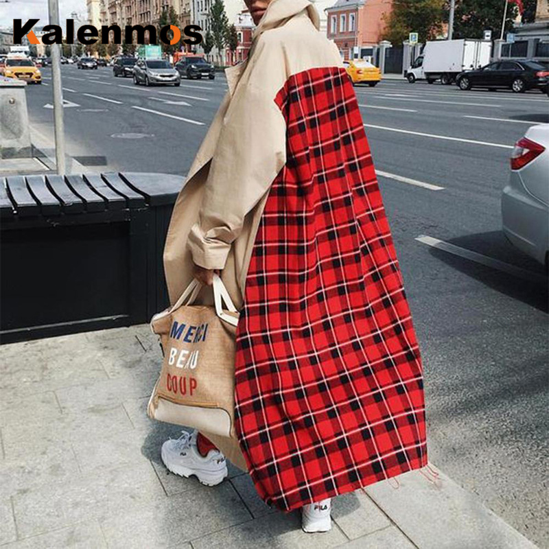 Out of Stock Long Coat Women Spring Fall Winter Spliced Open Stitch Plaid   Trench   Coats Casual Plus Size Loose Outwear Streetwear