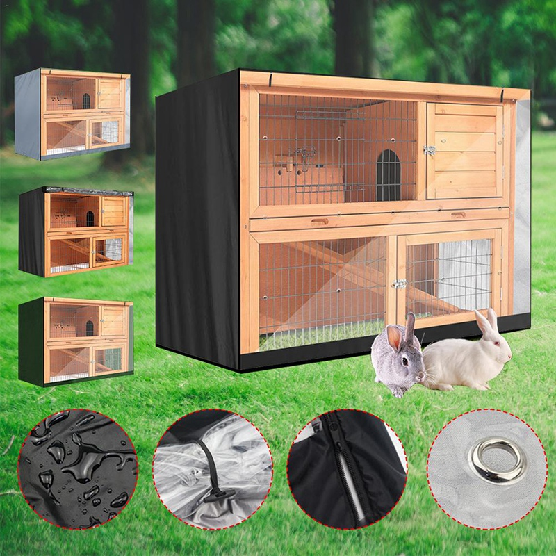 Oxford Cloth Hutch Covers 4FT Double Layer Rabbit Cage Dust Cover Waterproof For BB-48-DDU BB-48-DD BB-48-DDL-T 122X50X105